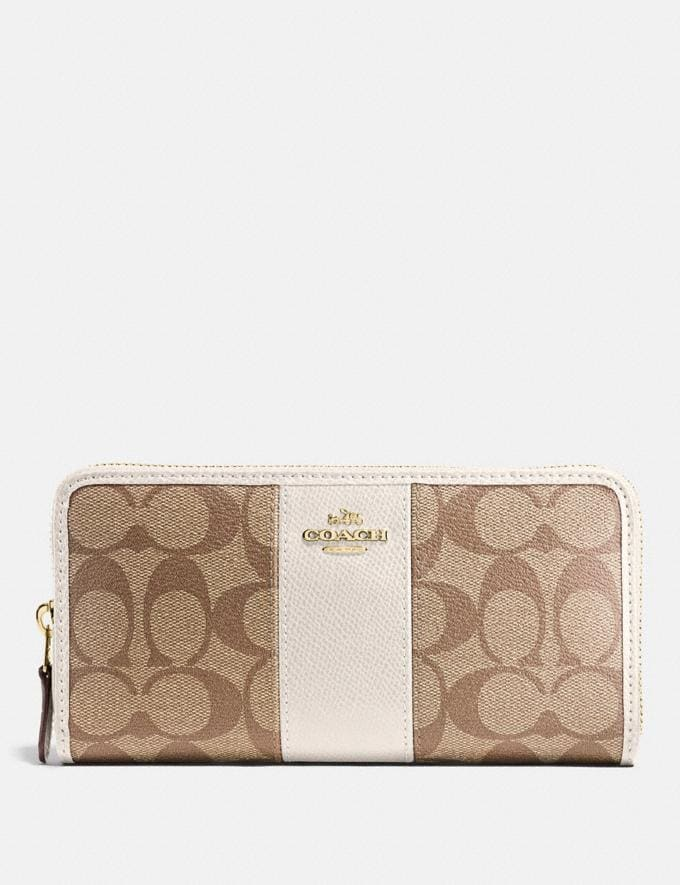 Coach Accordion Zip Wallet in Signature Canvas Khaki/Chalk/Gold Accessories Wallets