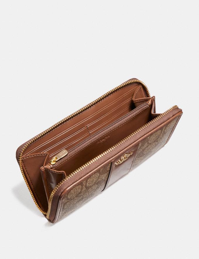 Coach Accordion Zip Wallet in Signature Canvas Khaki/Saddle 2/Light Gold Explore Women Explore Women Wallets Alternate View 1