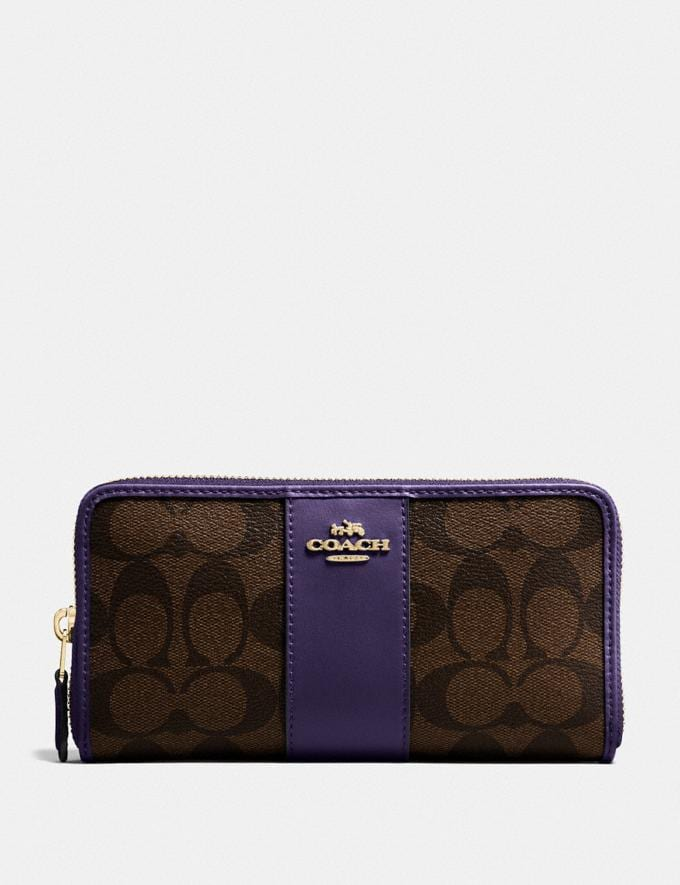 Coach Accordion Zip Wallet in Signature Canvas Im/Brown Dark Purple Explore Women Explore Women Wallets