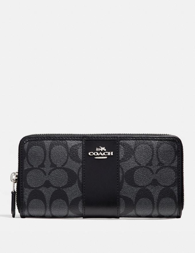 Coach Accordion Zip Wallet in Signature Canvas Black Smoke/Black/Silver Deals 75% Off Select Styles