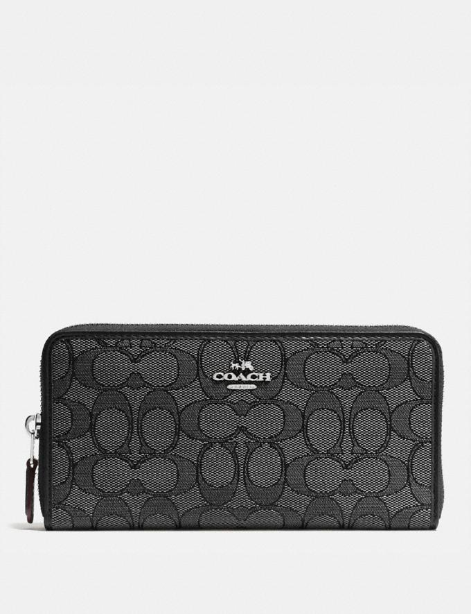 Coach Accordion Zip Wallet in Signature Jacquard Black Smoke/Black/Silver Accessories Wallets