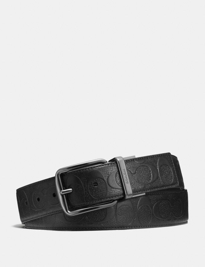 Coach Wide Harness Cut-To-Size Reversible Belt in Signature Leather Black Outlet Men's Accessories