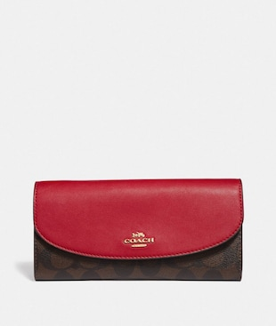 LUNAR NEW YEAR SLIM ENVELOPE WALLET IN COLORBLOCK SIGNATURE CANVAS