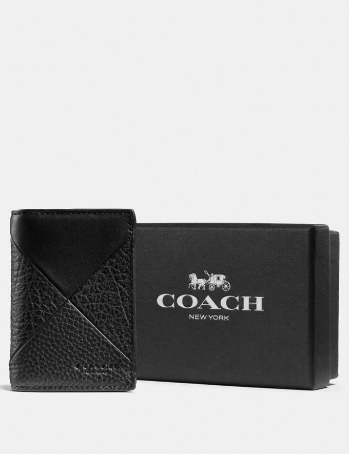 Coach Boxed Bifold Card Case With Patchwork Black