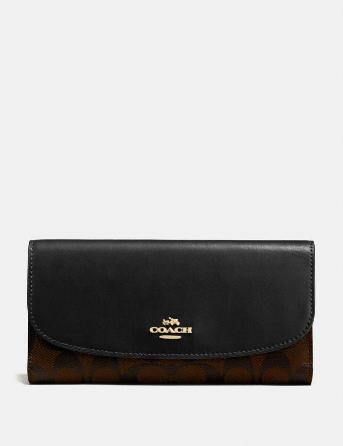 Coach Checkbook Wallet in Signature Canvas Brown/Black/Light Gold Back In Stock Back In Stock Wallets & Accessories