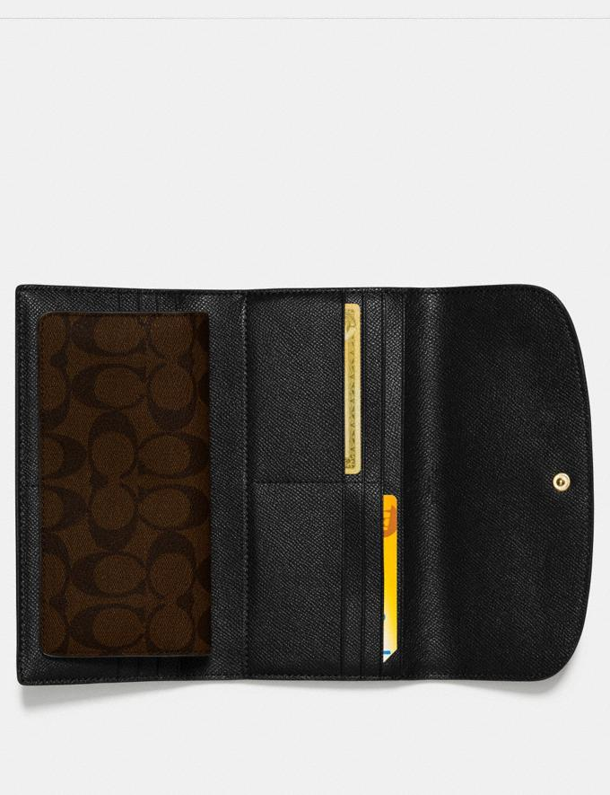 Coach Checkbook Wallet in Signature Canvas Brown/Black/Light Gold Back In Stock Back In Stock Wallets & Accessories Alternate View 1