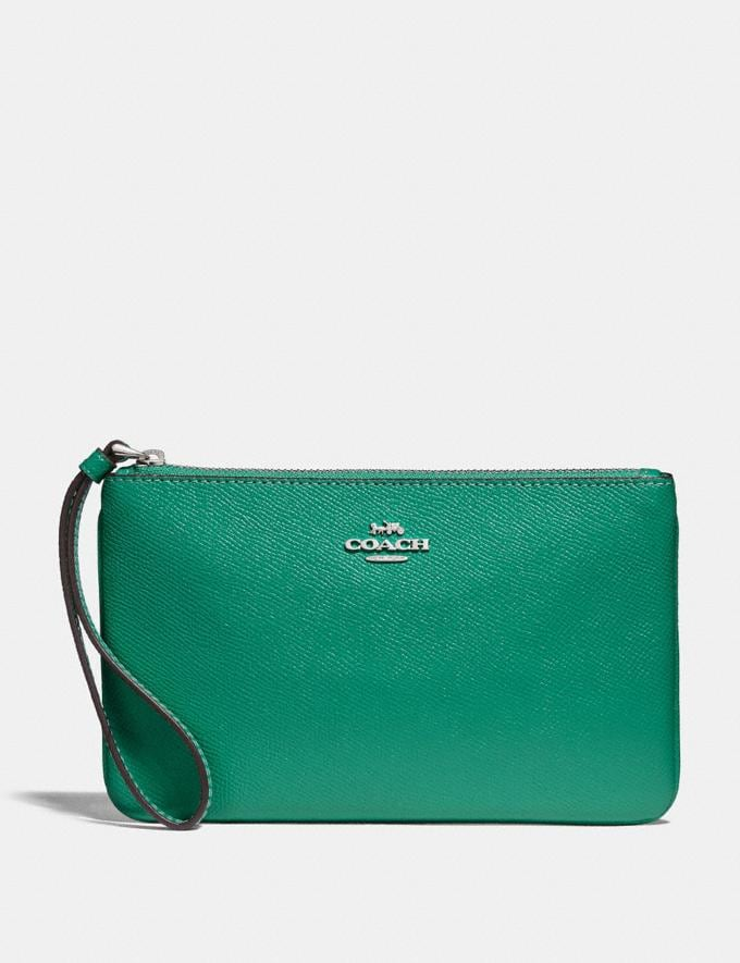Coach Large Wristlet Green/Silver Explore Bags Bags Clutches