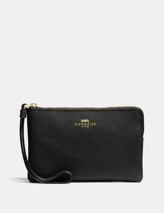 Coach Corner Zip Wristlet Black/Light Gold