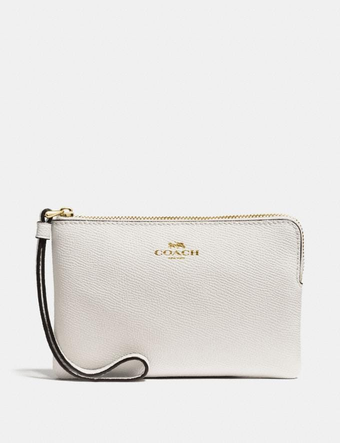 Coach Corner Zip Wristlet Chalk/Light Gold
