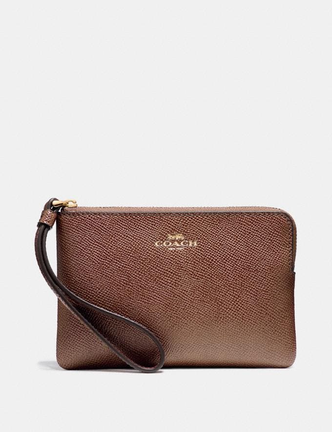 Coach Corner Zip Wristlet Saddle 2/Light Gold