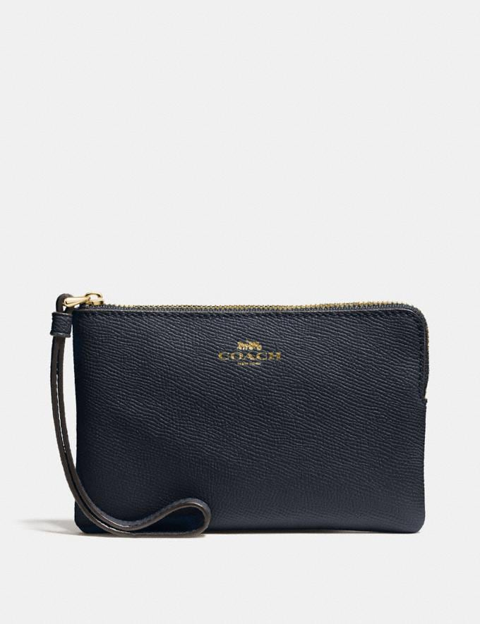 Coach Corner Zip Wristlet Midnight/Light Gold
