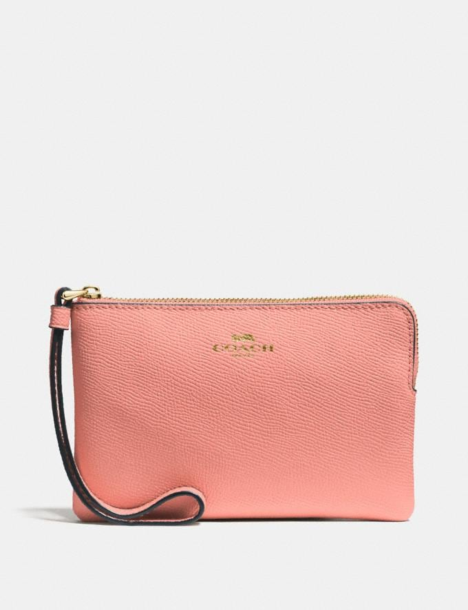 Coach Corner Zip Wristlet Light Coral/Gold Explore Women Explore Women Wristlets
