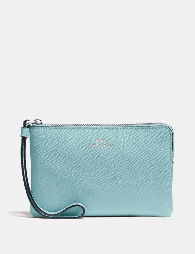 Coach Corner Zip Wristlet Sv/Metallic Blue