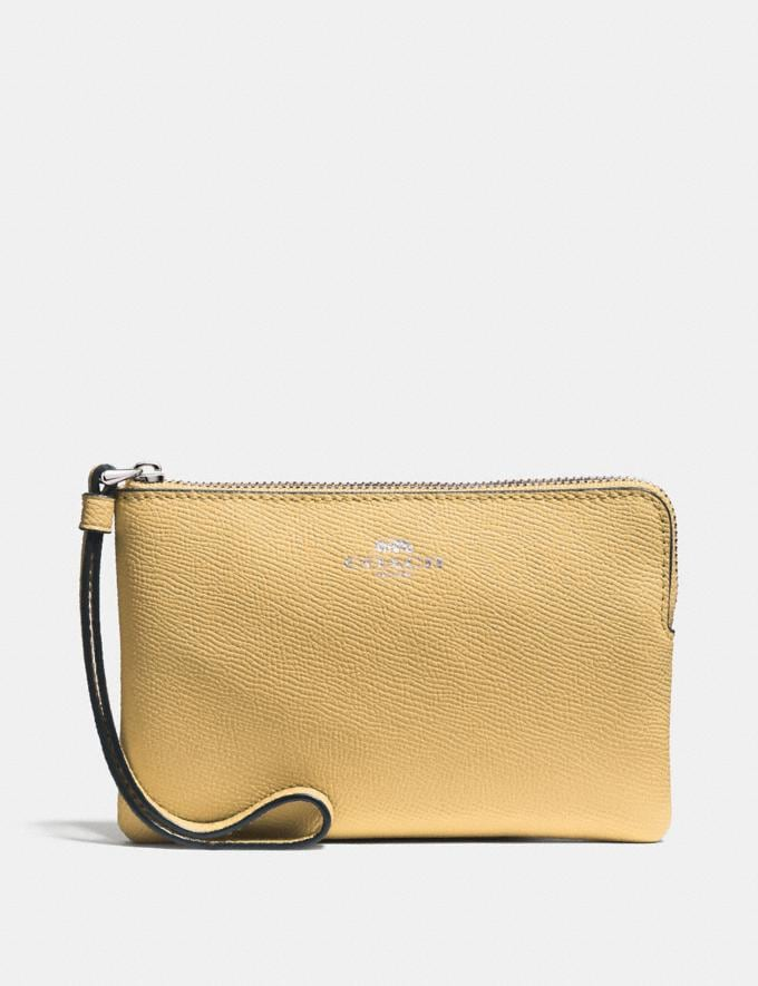 Coach Corner Zip Wristlet Light Yellow/Silver Explore Women Explore Women Wristlets