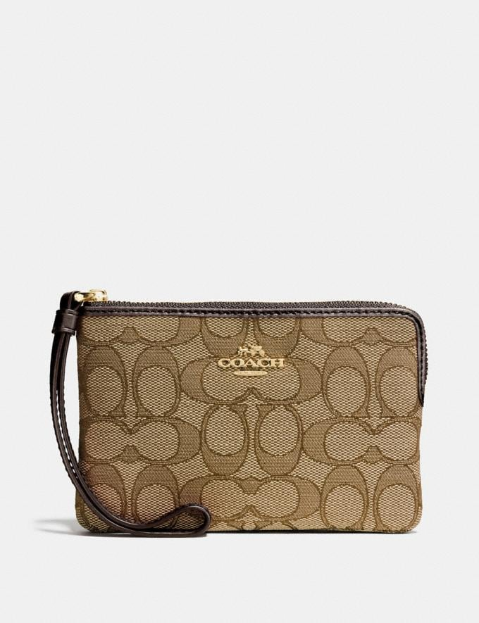 Coach Corner Zip Wristlet in Signature Canvas Khaki/Brown/Light Gold