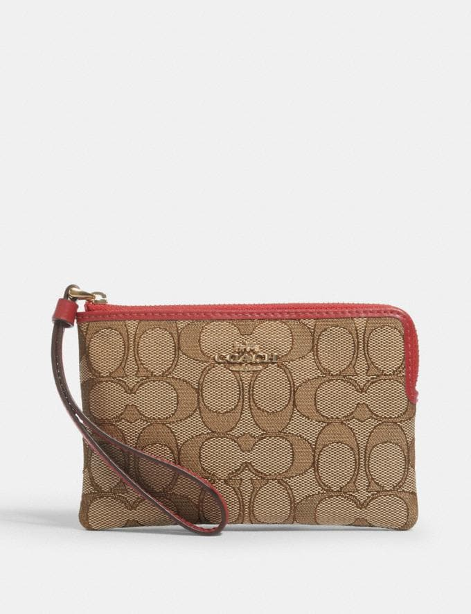 Coach Corner Zip Wristlet in Signature Canvas Im/Khaki/True Red