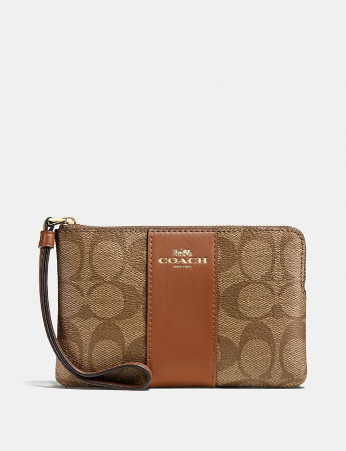 Coach Corner Zip Wristlet in Signature Canvas Khaki/Saddle 2/Light Gold Explore Women Explore Women Wristlets