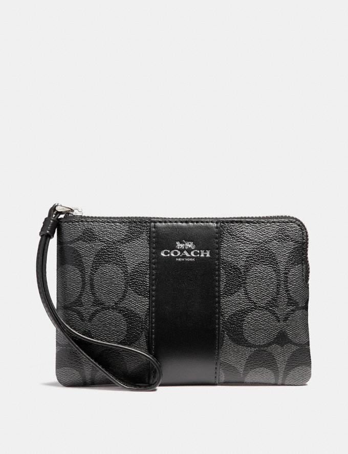 Coach Corner Zip Wristlet in Signature Canvas Black Smoke/Black/Silver