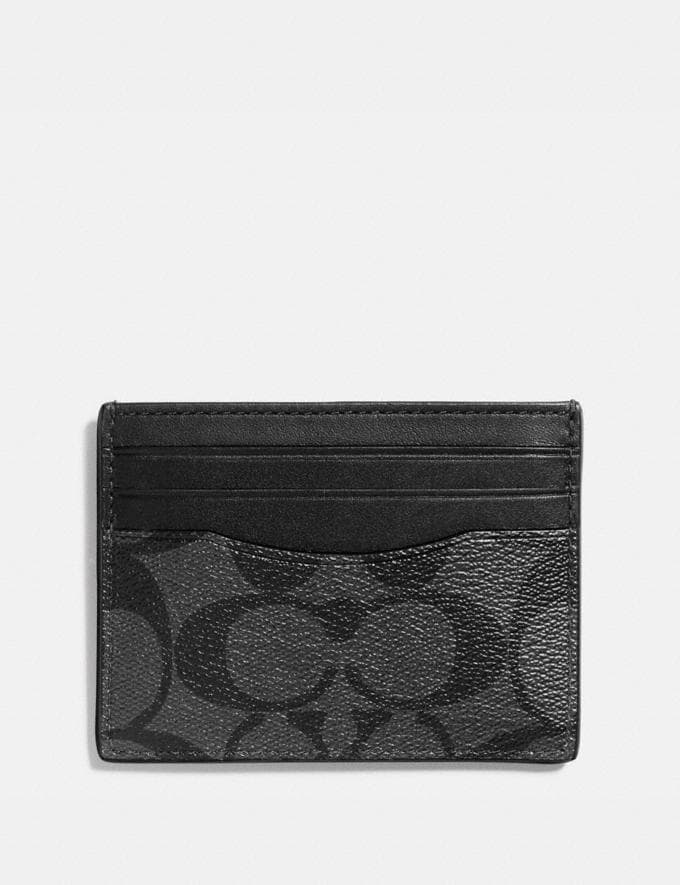 Coach Slim Id Card Case in Signature Canvas Charcoal/Black Under $99 Under $99