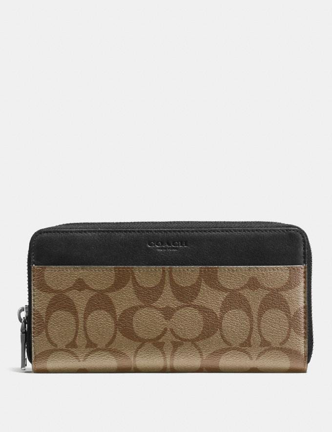 Coach Accordion Wallet in Signature Canvas Tan/Black Antique Nickel