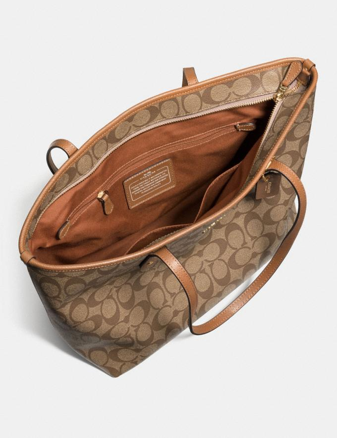 Coach City Zip Tote in Signature Canvas Khaki/Pink Ruby/Gold Explore Bags Bags Totes Alternate View 1