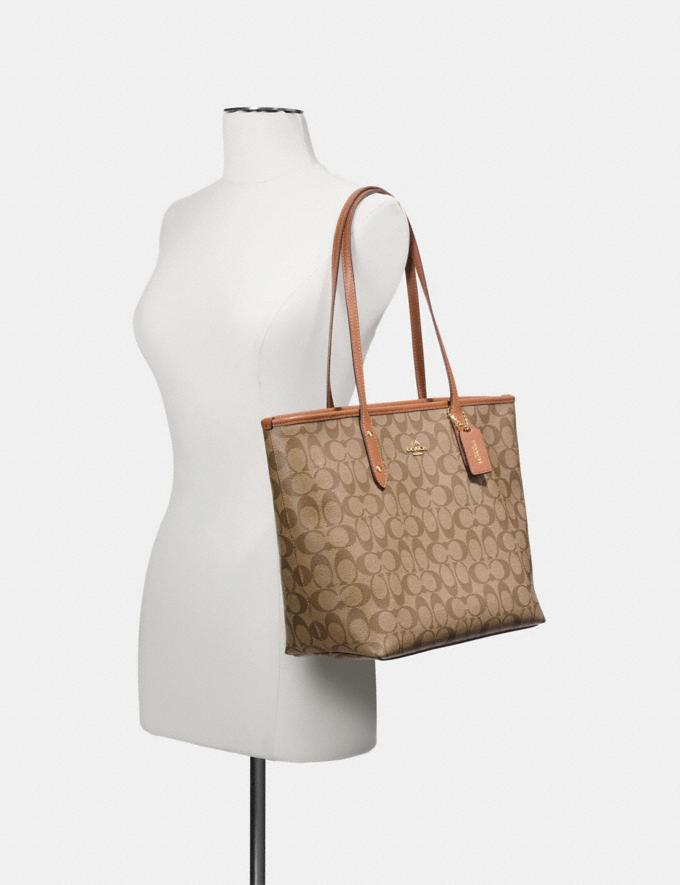 Coach City Zip Tote in Signature Canvas Khaki/Pink Ruby/Gold Explore Bags Bags Totes Alternate View 2