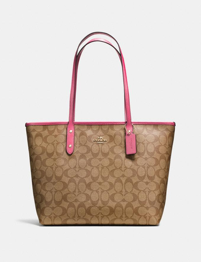 Coach City Zip Tote in Signature Canvas Khaki/Pink Ruby/Gold Explore Bags Bags Totes