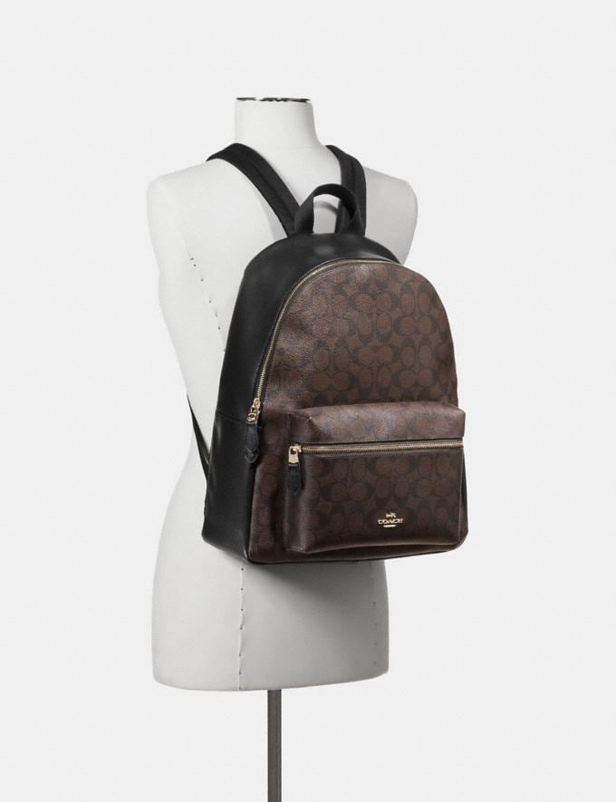 Coach Charlie Backpack in Signature Canvas Brown/Black/Light Gold Explore Bags Bags Backpacks Alternate View 2