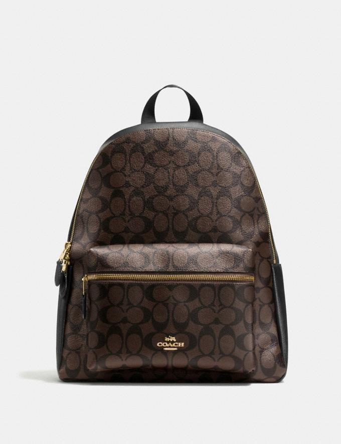 Coach Charlie Backpack in Signature Canvas Brown/Black/Light Gold