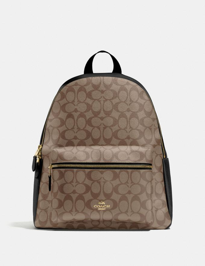 Coach Charlie Backpack in Signature Canvas Khaki/Black/Imitation Gold Members Only Members Only
