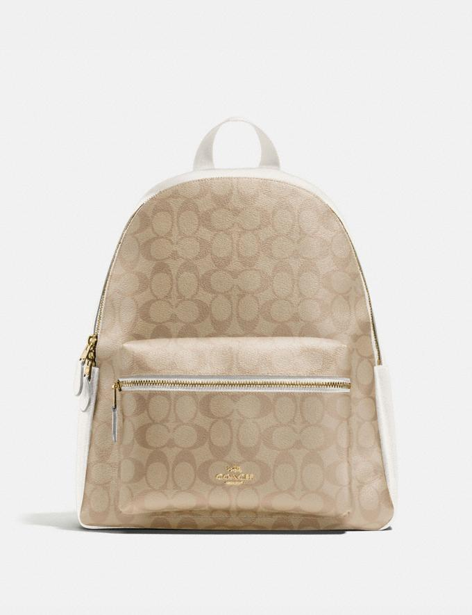 Coach Charlie Backpack in Signature Canvas Im/Light Khaki Chalk