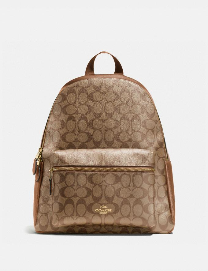 Coach Charlie Backpack in Signature Canvas Khaki/Saddle 2/Light Gold
