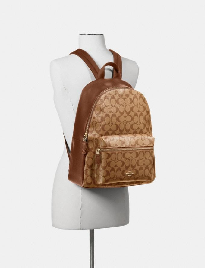 Coach Charlie Backpack in Signature Canvas Brown/Black/Light Gold DEFAULT_CATEGORY Alternate View 2