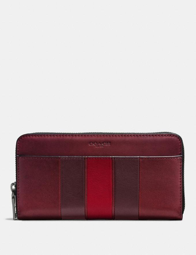 Coach Accordion Wallet With Varsity Stripe Brick Red/Oxblood/Cherry