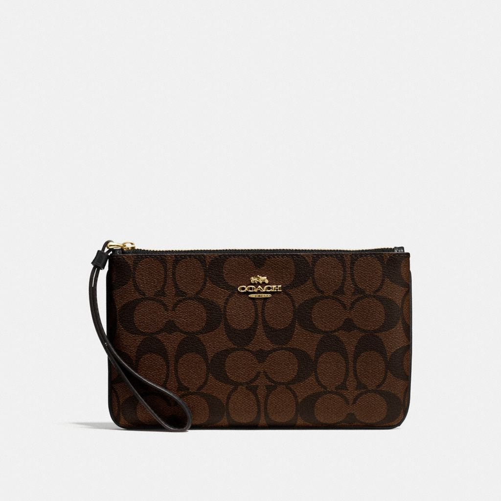 NWT COACH F58695 LARGE WRISTLET IN SIGNATURE COATED CANVAS