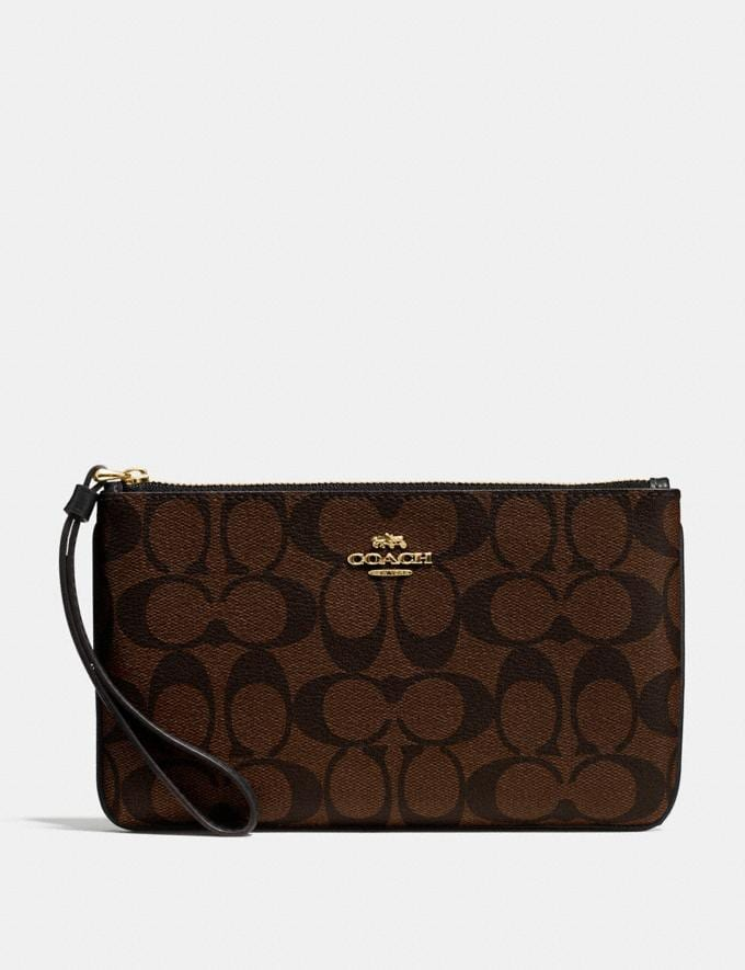 Coach Large Wristlet in Signature Canvas Brown/Black/Light Gold