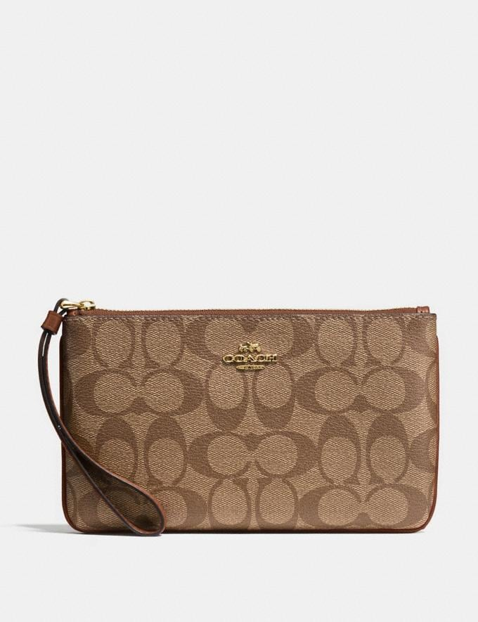 Coach Large Wristlet in Signature Canvas Khaki/Saddle 2/Light Gold Explore Women Explore Women Wristlets
