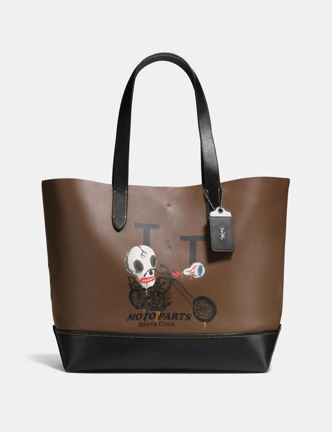 Coach Gotham Tote With Wild Moto Print Dark Saddle/Black Explore Men Explore Men Travel