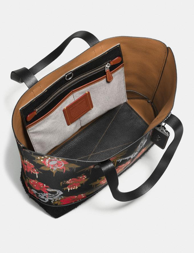 Coach Gotham Tote With Wild Lily Print Black/ Cardinal Posion Lily Explore Men Explore Men Travel Alternate View 1