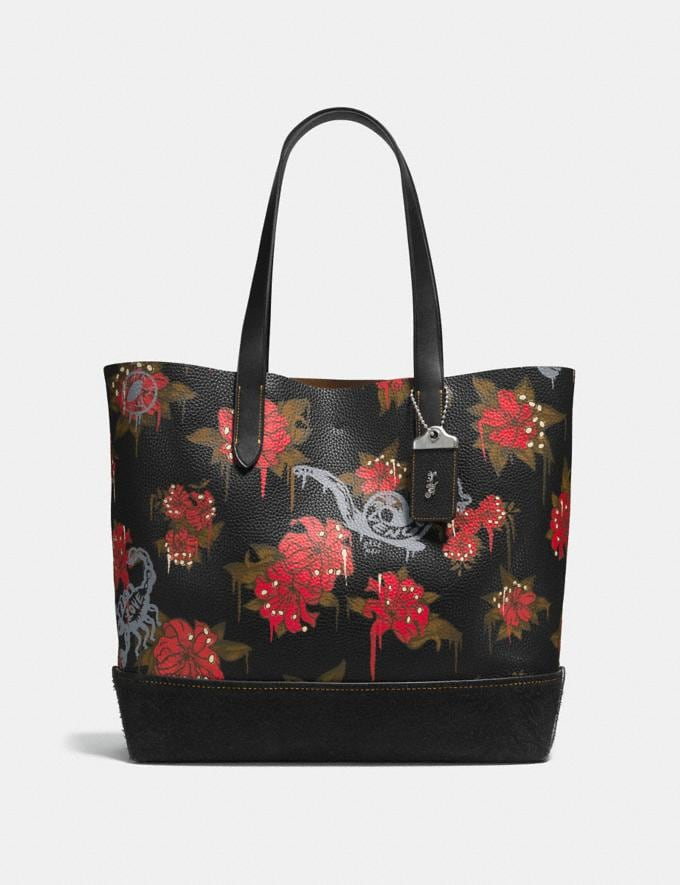 Coach Gotham Tote With Wild Lily Print Black/ Cardinal Posion Lily Men Bags