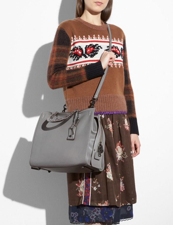 Coach Rogue 36 With Colorblock Snakeskin Detail Heather Grey/Black Copper  Alternate View 2
