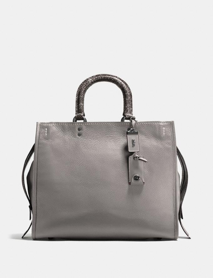 Coach Rogue 36 With Colorblock Snakeskin Detail Heather Grey/Black Copper