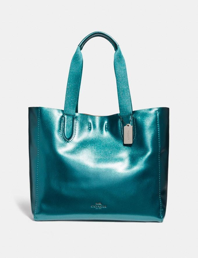 Coach Large Derby Tote Metallic Dark Teal/Black Antique Nickel Bags Totes
