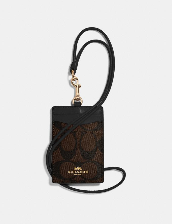 Coach Id Lanyard in Signature Canvas Brown/Black/Light Gold