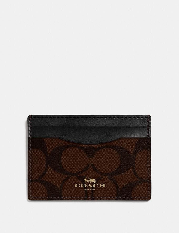 Coach Card Case in Signature Canvas Brown/Black/Light Gold
