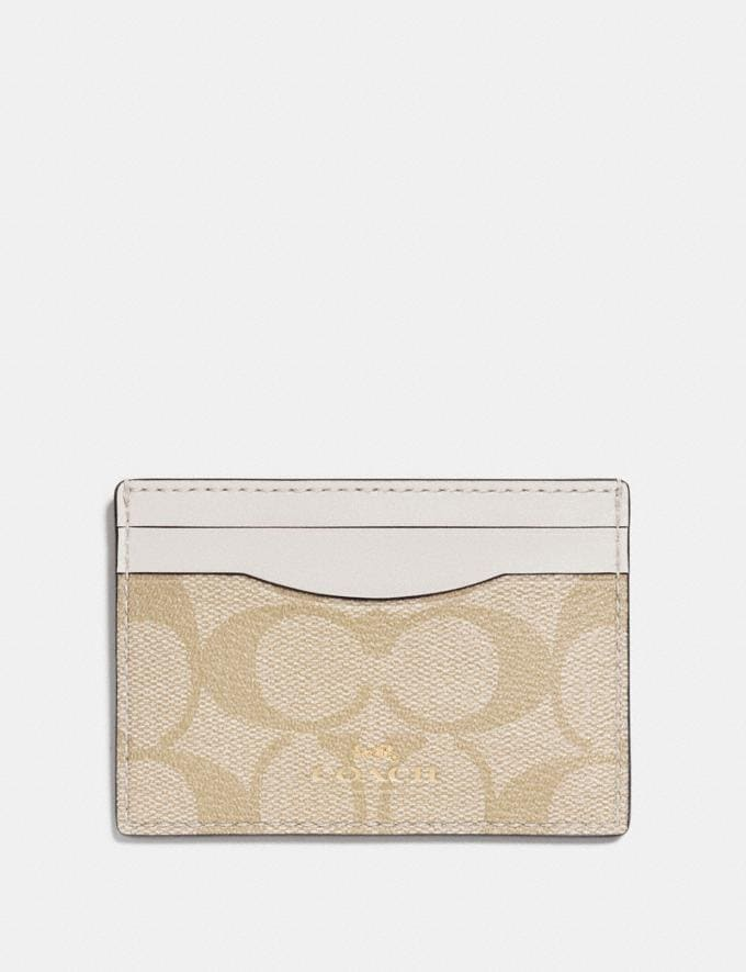 Coach Card Case in Signature Canvas Light Khaki/Chalk/Light Gold