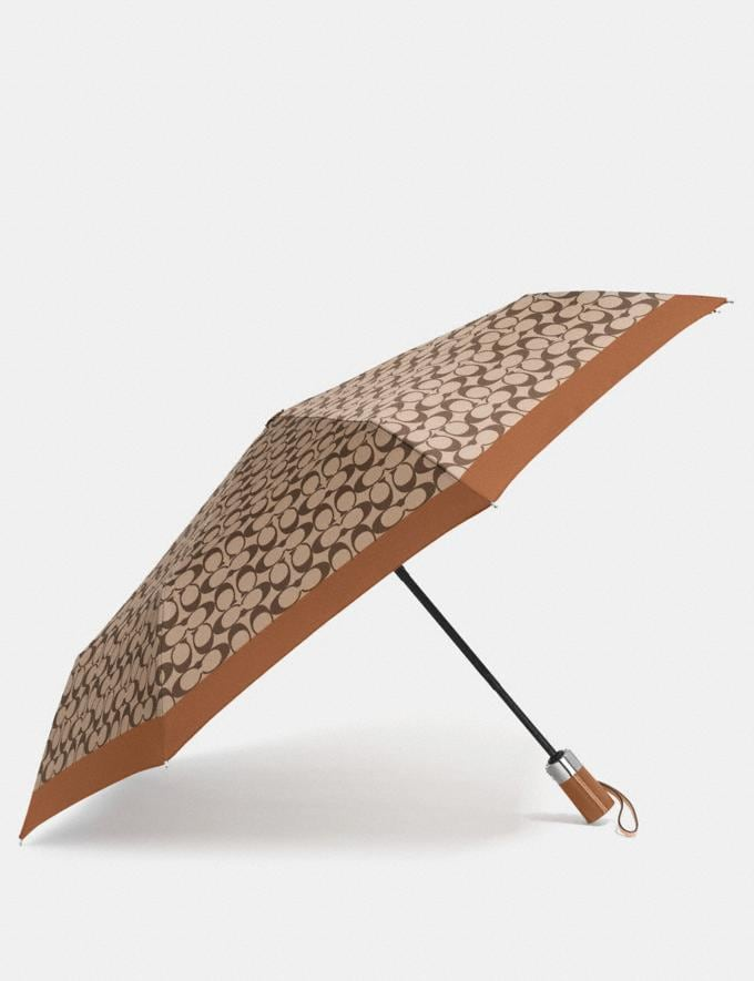 Coach Signature Umbrella Khaki/Saddle/Silver
