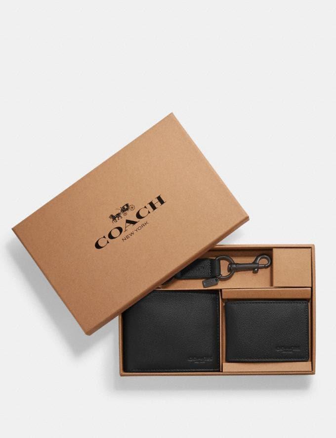Coach Boxed Compact Id Wallet With Trigger Snap Key Fob Black Explore Men Explore Men Wallets