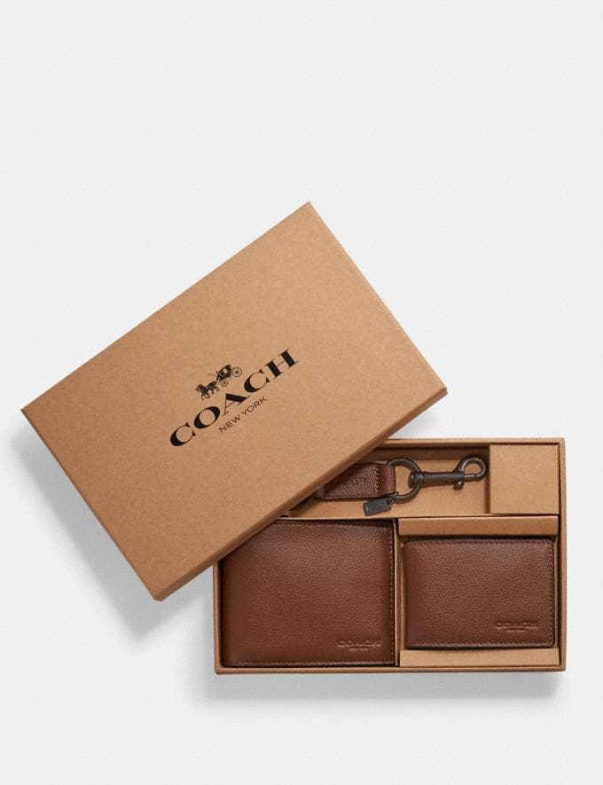 Coach Boxed Compact Id Wallet With Trigger Snap Key Fob Dark Saddle Explore Men Explore Men Wallets