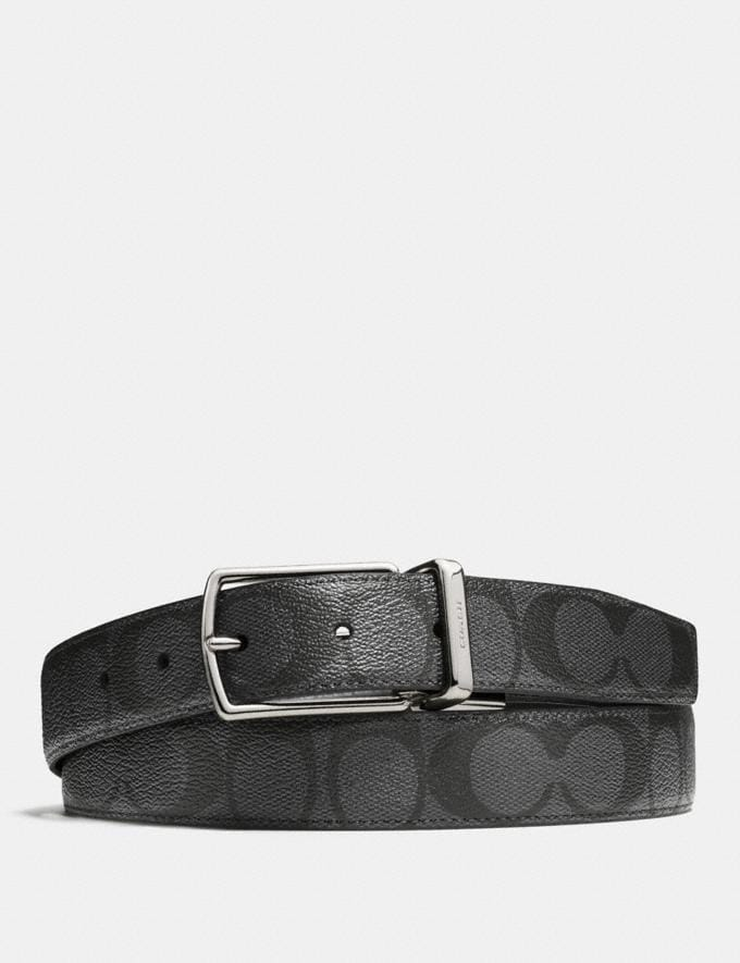 Coach Modern Harness Cut-To-Size Reversible Belt in Signature Canvas Charcoal/Black